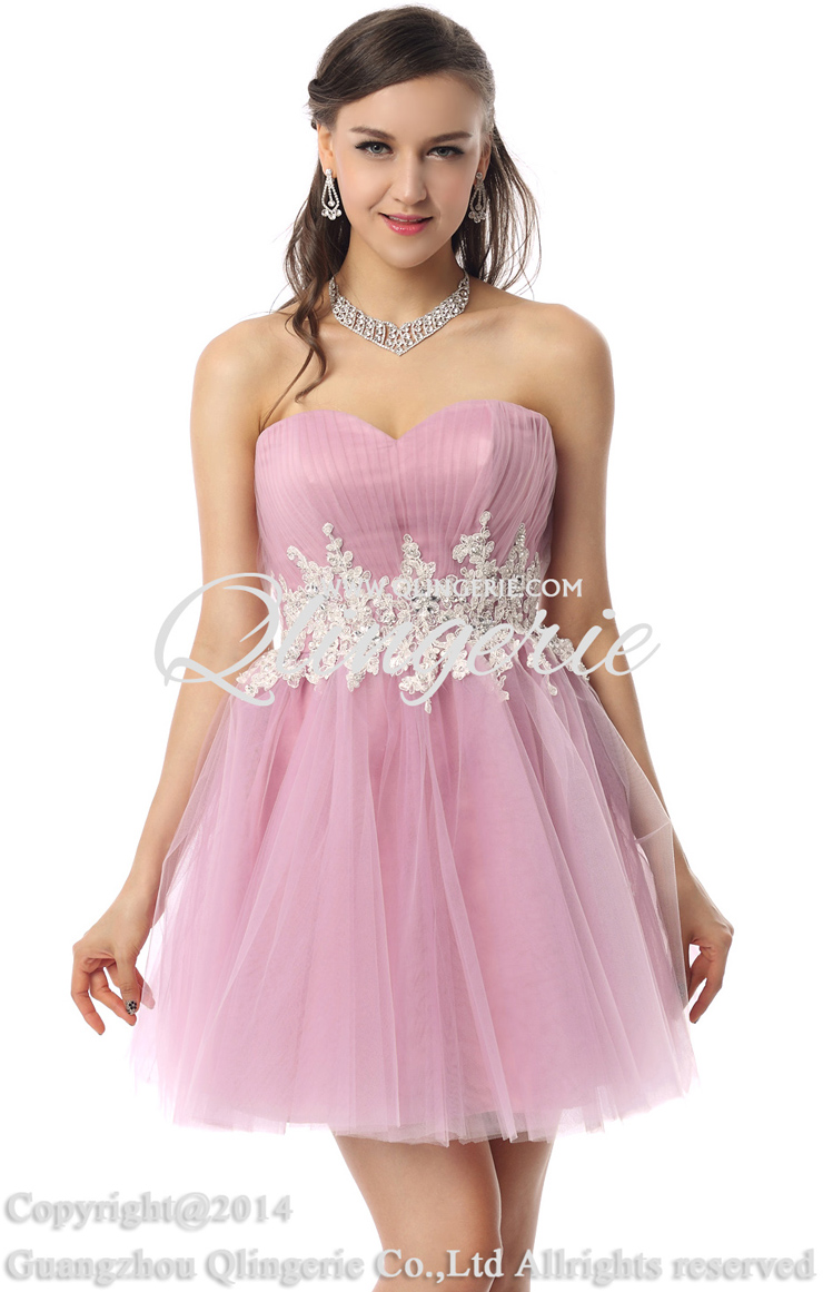 Pretty Pastel-Violet A-line Sweetheart-neck Lace Beading Short ...