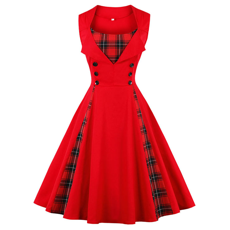 Women's Vintage Tartan Plaid Patchwork Sleeveless Casual Cocktail Dress N15503