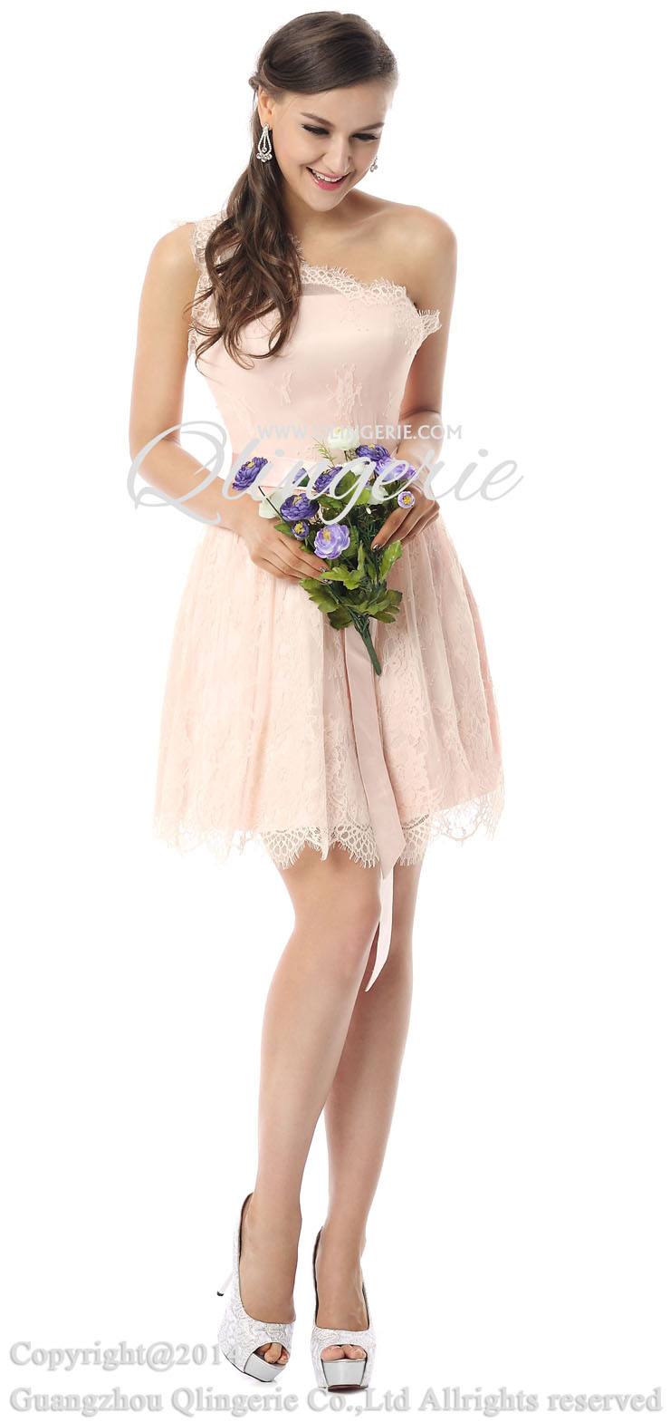 2018 Charming Pearl Pink A-line One-shoulder Lace Satin Short ...