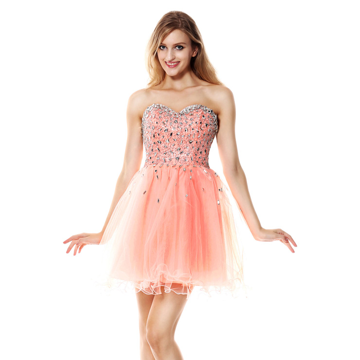 2016 Fancy Pearl Pink A-line Sweetheart-neck Lace Mesh Beading ...