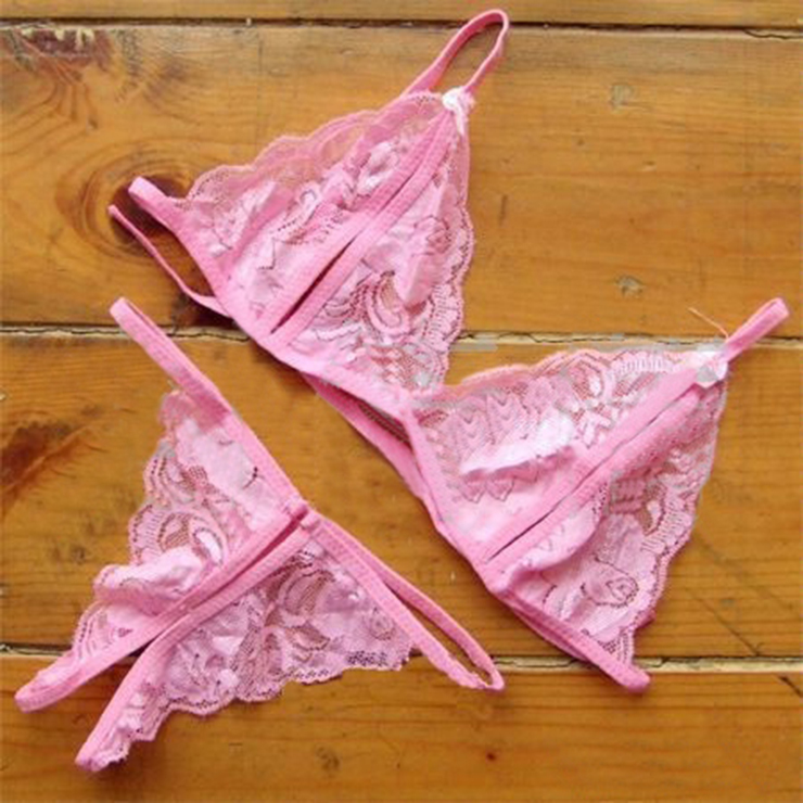 Charming Pink Floral Lace Lingerie Hollow Out Bra Panty Set N17622