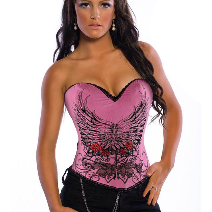 Pink Magic Printed Rhinestone Corset N3009