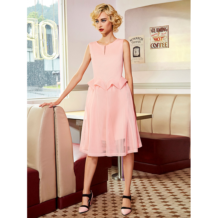 Women's Pink Mesh Round Neck Sleeveless Double-Layered Midi Dresses N14543