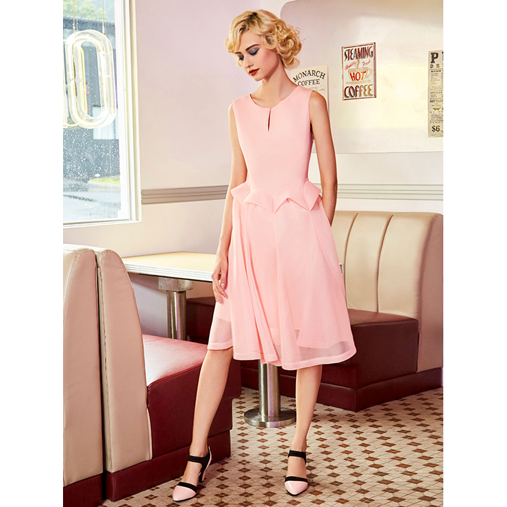 Midi Dresses, Casual Dresses For Women, Daily Dresses, Slim Fitting A-line Dresses, Round Neck Pink Dress, #N14543