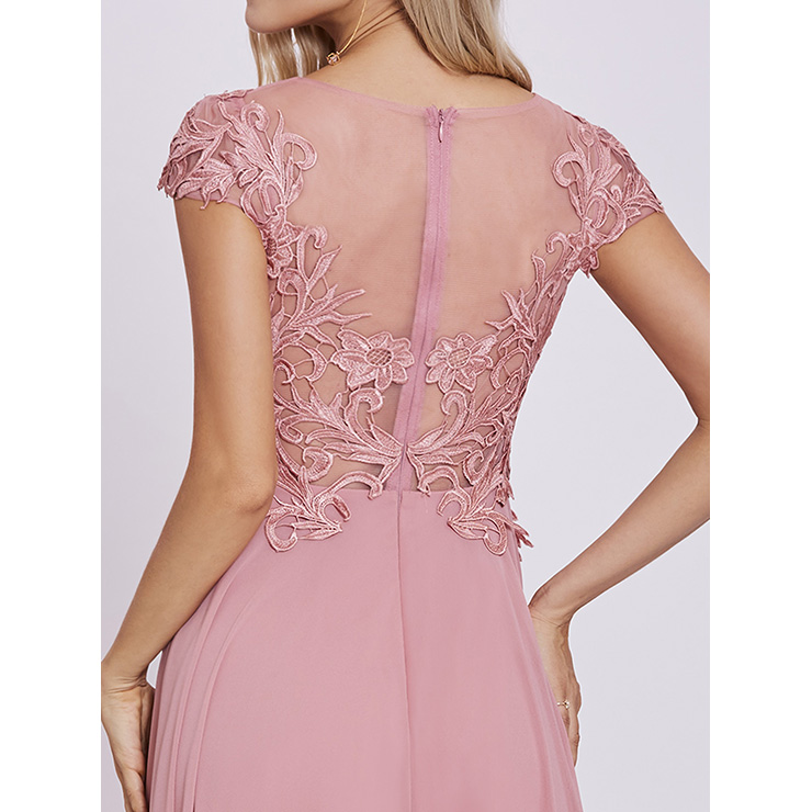 Women\'s Pink Scoop Neck Cap Sleeve Appliques A Line Chiffon Prom ...
