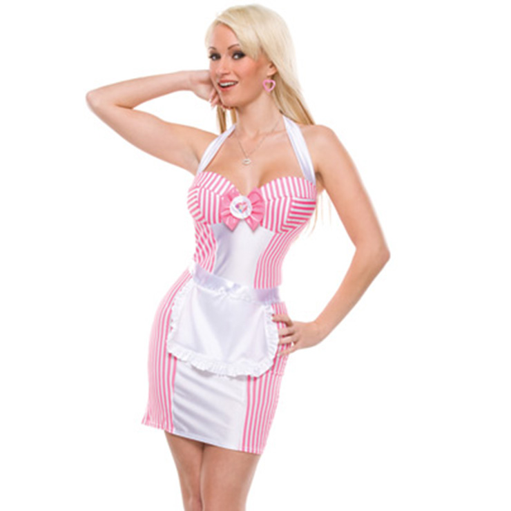 Hot Sexy Pink Maid Waitress Halloween Cosplay Costume Fancy Dress N11364