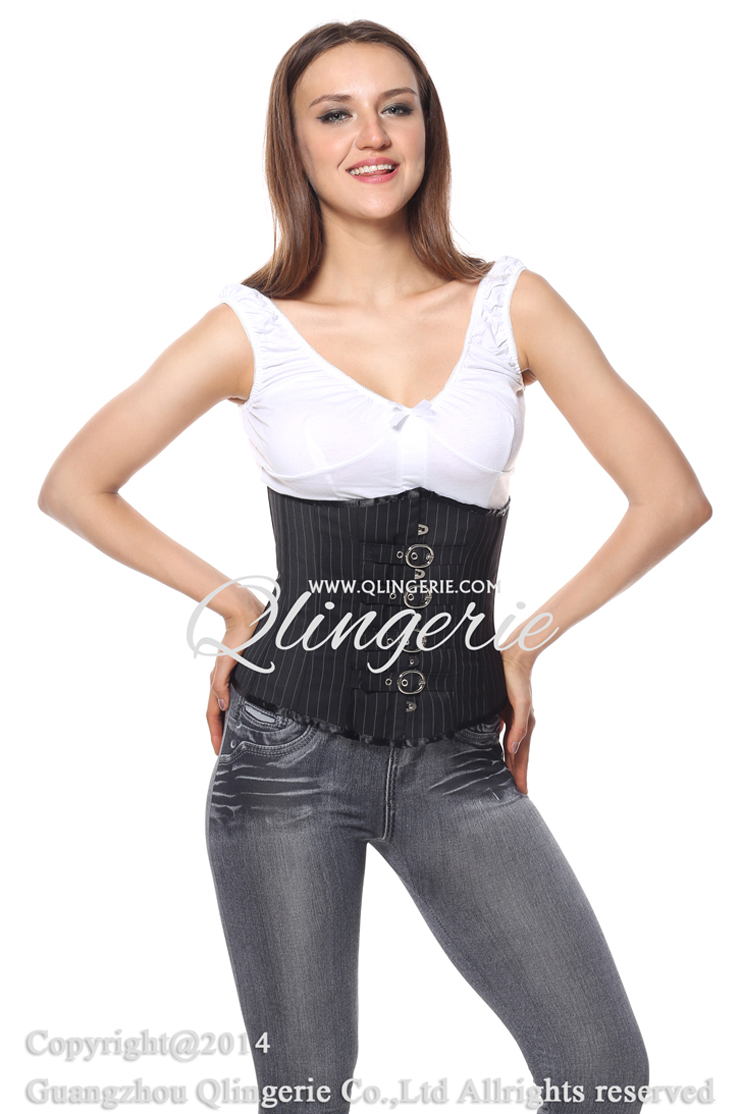 Pinstripe Underbust with Buckle closure, Buckle closure Pinstripe Underbust, Black and White Pinstripe Corset, #N6184