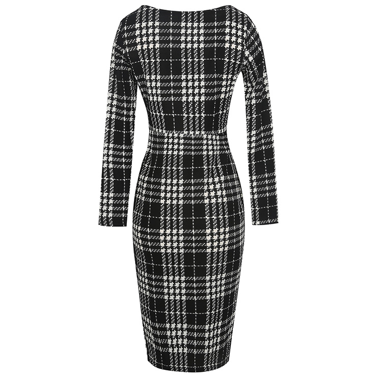 Black White Plaid Long Sleeve Round Neck High Waist Bodycon Midi ... dc9fa3d9d