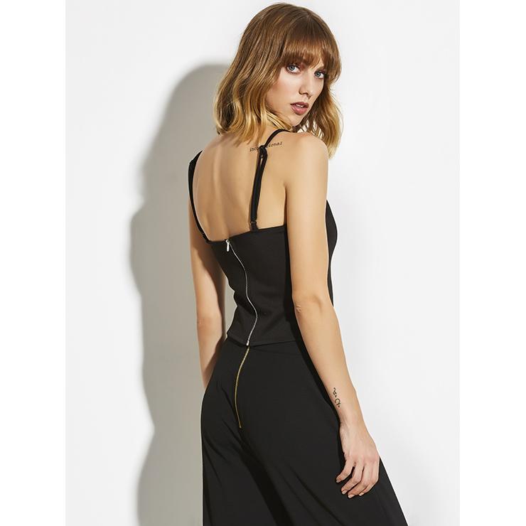 Black Vest for Women,  Strappy Black Vest,  Plain Black Vest, Camisole Vest,  Casual Vest for Women, #N14369