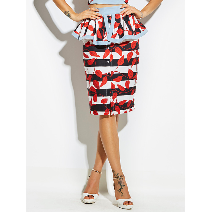 Women's Plant Print Falbala Knee-Length Pencil Skirt N14385
