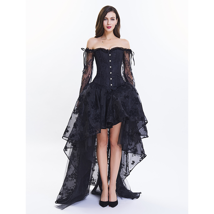Women's Fashion Plastic Boned Black Overbust Long Floral Lace Sleeve Corset Organza Skirt Set N14476