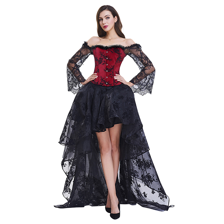 Women's Fashion Plastic Boned Red Overbust Long Floral Lace Sleeve Corset Organza Skirt Set N15391