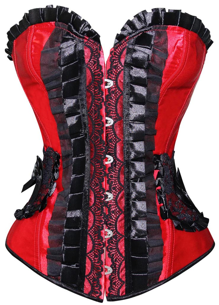Pleated Lace Trimming Corset, Pleated Lace Corset red, Christmas Corset red, #N4677