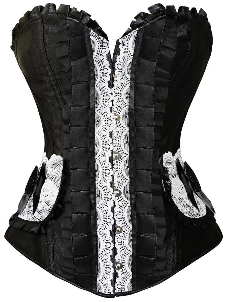 Pleated Lace Trimming Corset, Pleated Lace Corset black, Corset black, #N4675