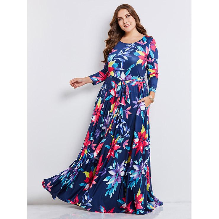 Women's Plus Size Round Neck Long Sleeve Floral Print Maxi ...