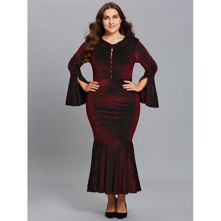 Women S Plus Size V Neck Flare Sleeve Fishtail Bodycon