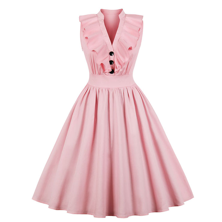 Plus Size Casual Pink Sleeveless V Neck Ruffled Button Midi Summer Day Dress N20764