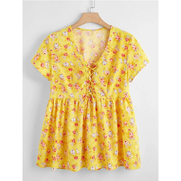 Plus Size Women's Yellow Floral Print V Neck Lacing Short Sleeve Blouse Loose Tops N20788