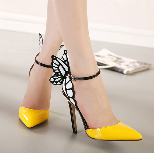 Wing Wing Stilettos, Pointed Toe Butterfly Wing Wing Shoes, #SW20159
