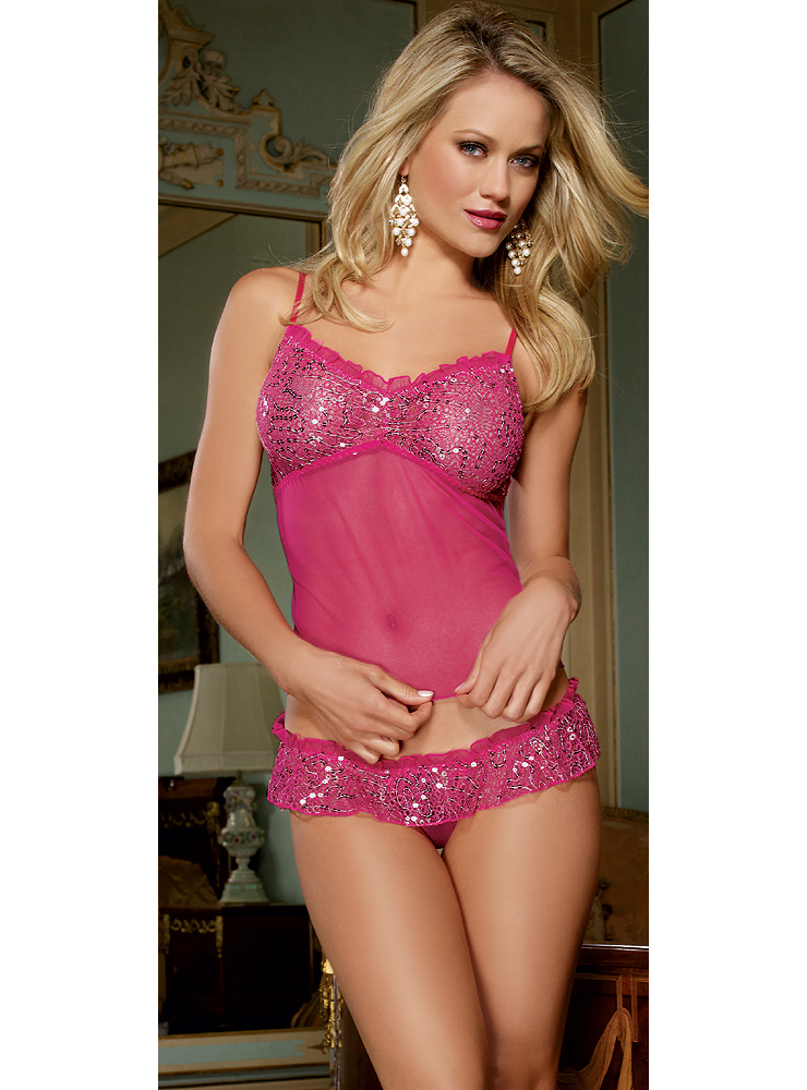 Pink Sequin Cami and Thong Set C3075