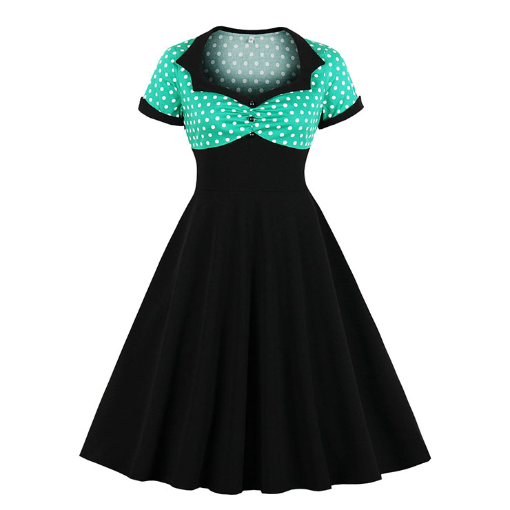 1950's Vintage Polka Dots Spliced Lapel Short Sleeve Cocktail Party A-line Swing Dress N19624