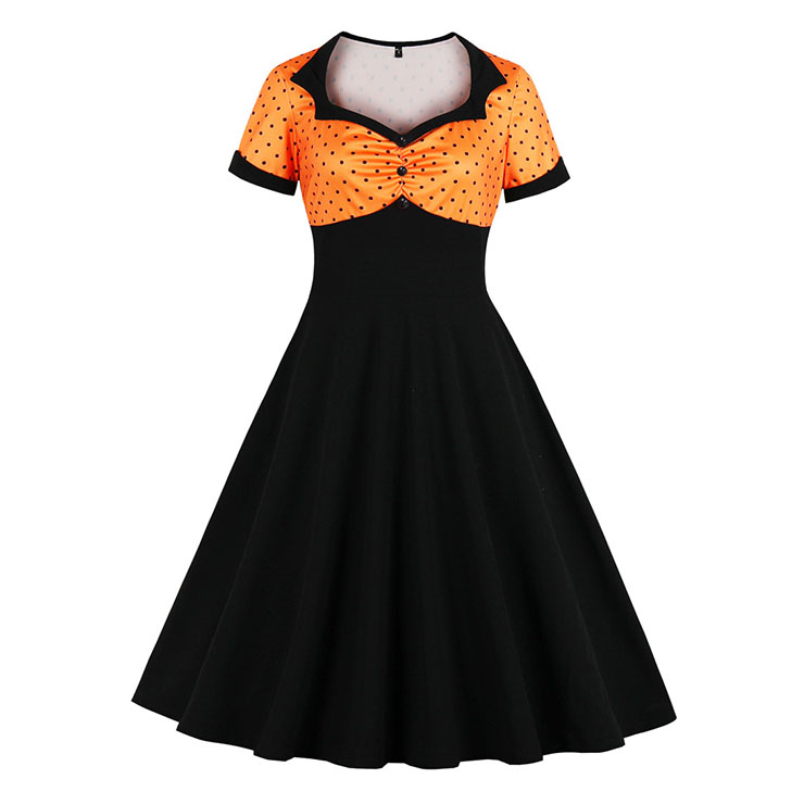 1950's Vintage Polka Dots Spliced Lapel Short Sleeve Cocktail Party A-line Swing Dress N19660