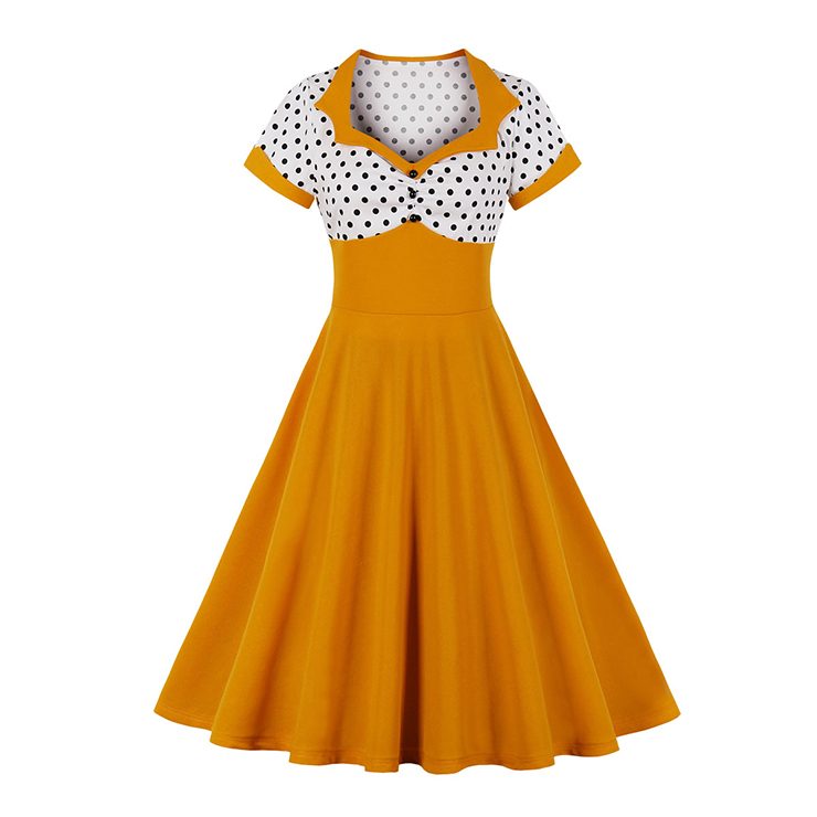 1950's Vintage Polka Dots Spliced Lapel Short Sleeve Cocktail Party A-line Swing Dress N19944