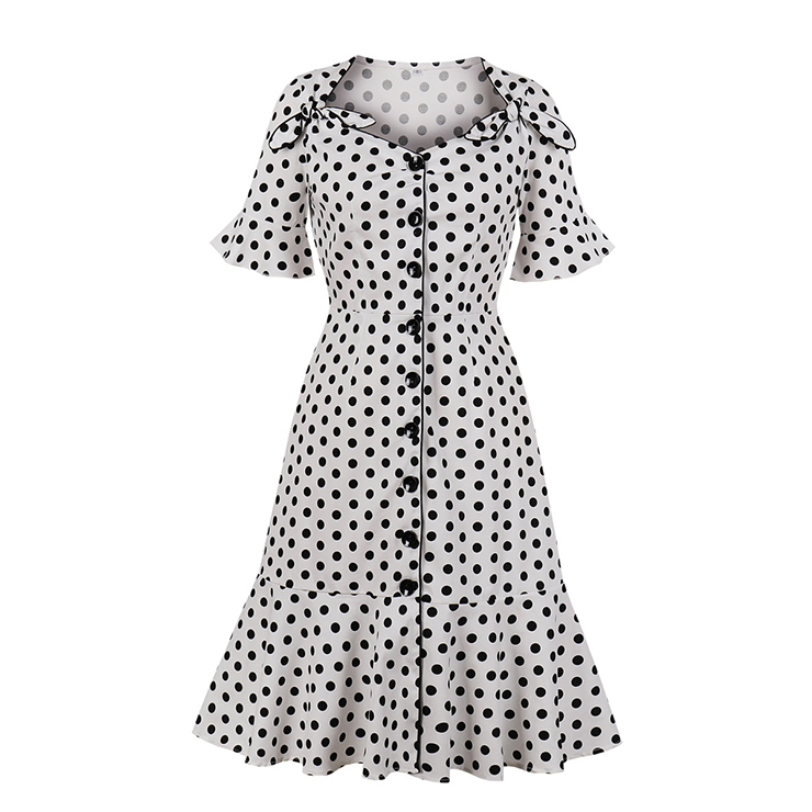 1950's Vintage Polka Dots Bowknots Flare Sleeve Front Button Cocktail Party Fishtail Dress N19946