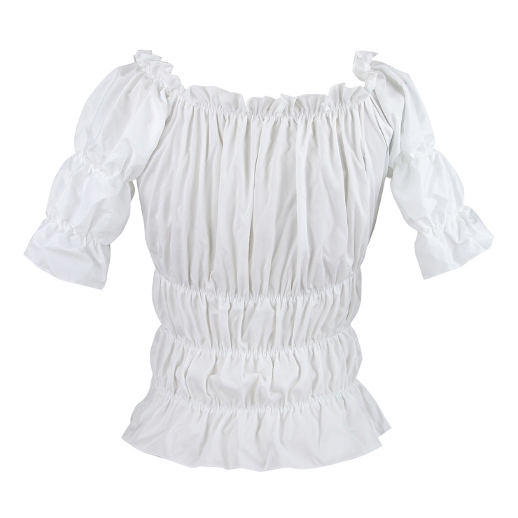 Elastic White Shirt, Slim Cotton Short Shirt, Baby Doll Shirt, Wide Collar Tight Shirt, #N9331