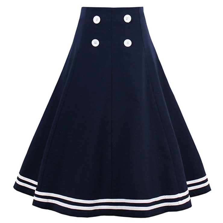Preppy Style Dark Bule High Waist Button Women's Skirt N14284