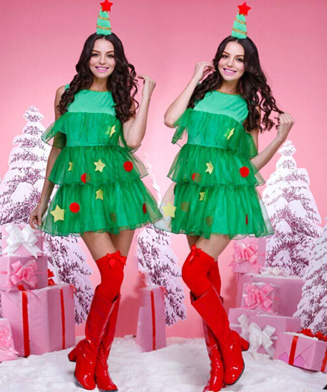 Pretty Green Christmas Tree Dress Costume XT9830
