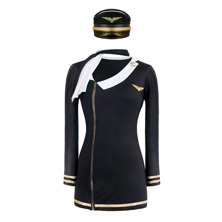 Pretty Pilot Costume, Zip Front Pilot dress, Pilot Halloween Dress, #M4155