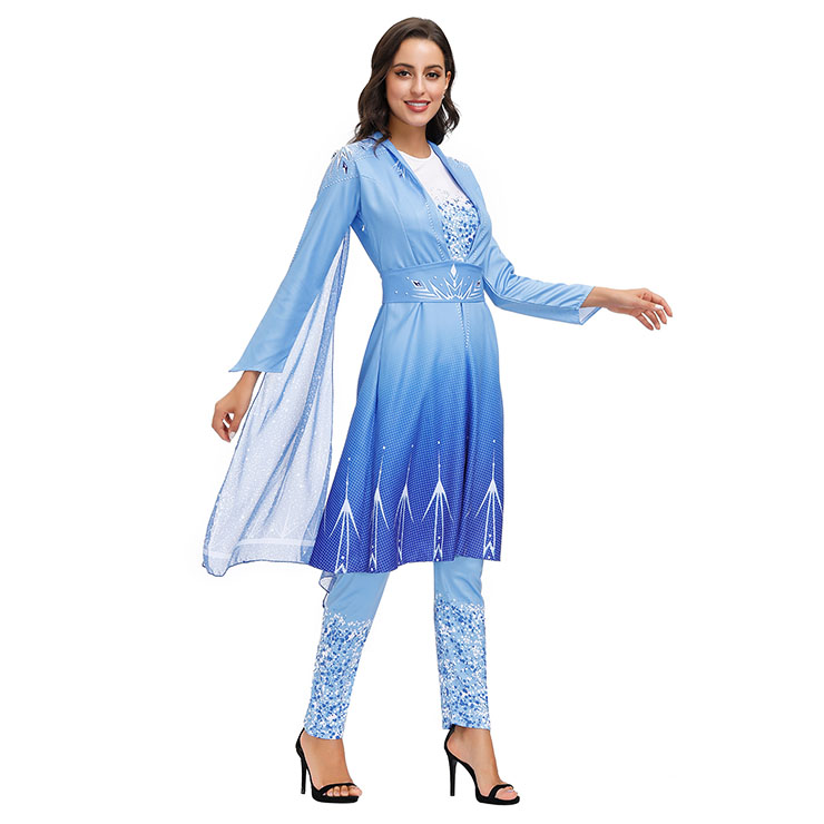 Frozen 2 Costume, Medieval Princess Costume for Women, Renaissance Beauty Cosplay Costumes, Medieval Ladies Robe Halloween Costumes,Princess Dress Suit, Halloween Party Cosplay Costume , #N20598