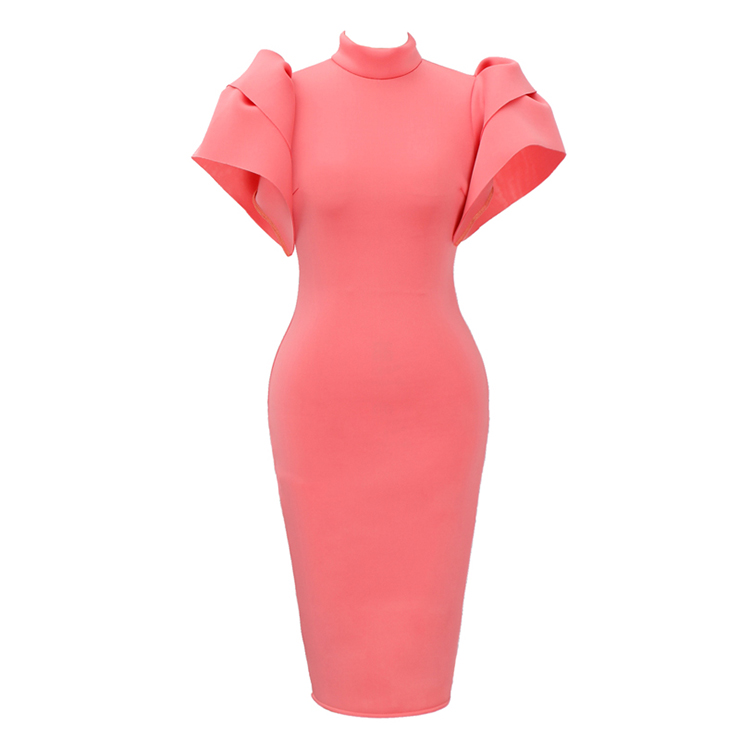 Women's Sexy Pink High Neck Puff Sleeve Back Open Bodycon Midi Dress N15706
