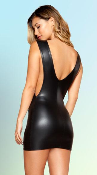 Plus Size Dress, Faux Leather Dress, Black Mini Dress, Catwalk Dress, Fashion Black Dress, Night Club Dress, Steampunk Dress, #N12629