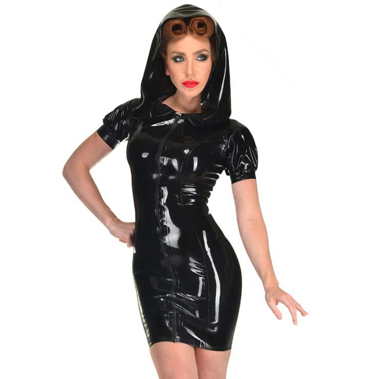 Punk Black Pvc Short Sleeves Bodycon Mini Dress N10997