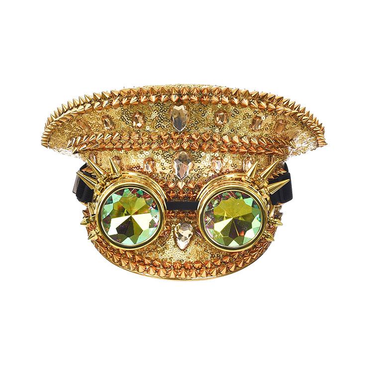 Punk Golden Sequin Rhinestone Rivet Kaleidoscope Glasses Goggles Masquerade Top Hat J20840