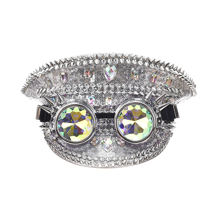 Punk Silver Sequin Rhinestone Rivet Kaleidoscope Glasses Goggles Masquerade Top Hat J20841