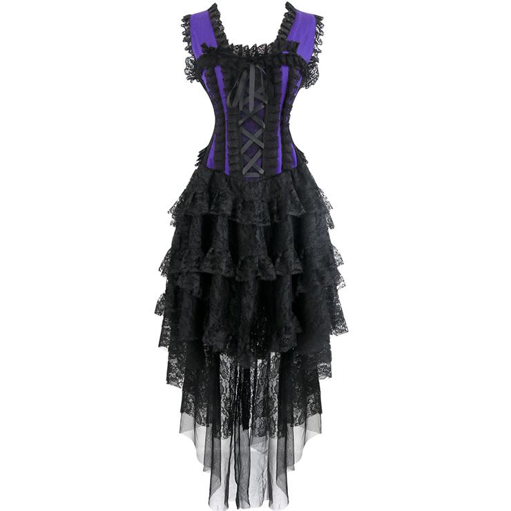 Vintage Purple Burlesque Queen Corset Dress Halloween Costume N17347
