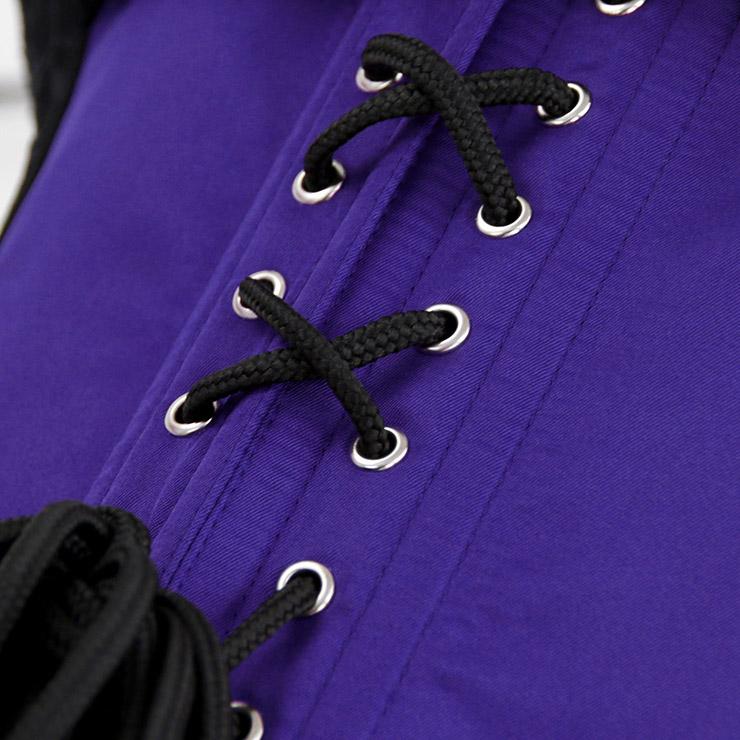 Burlesque Queen Costume, Gothic Halloween Corset Dress, Burlesque Halloween Costume for Women, Purple Lace Boned Corset Dress, One-piece Burlesque Corset Dress, #N17347