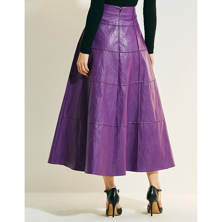 Sexy Skirt for Women, Sexy Purple Skirt,  Ankle-Length Skirt, Purple Sexy Skirts, Leather Purple Skirt, Women Leather Skirts, High-Waist Long Skirts, #N15753