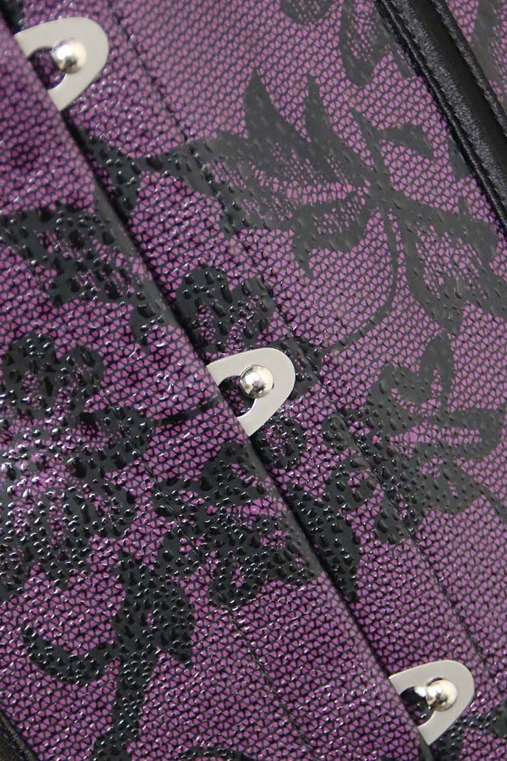 Leather Floral Fantasies Corset, Floral Fantasies Corset, Purple Corset, #N1418