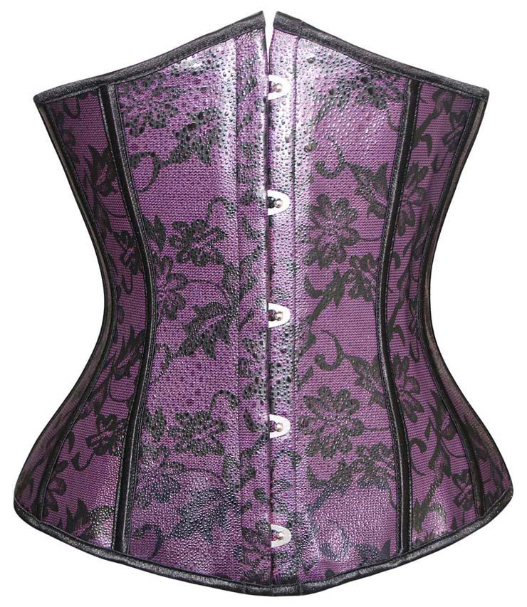 Purple Leather Underbust Corset, Leather Underbust Corset, Purple Underbust Corset, #N1273