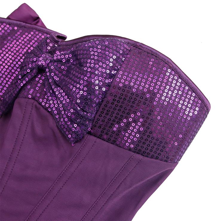 Sequin halter top corset, halter top corset, Purple sequin corset, #N4870