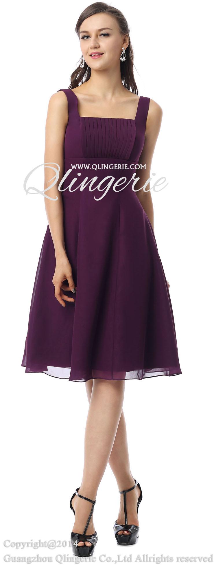 2018 vintage purple a line straps square neckline empire for Purple dresses for weddings knee length