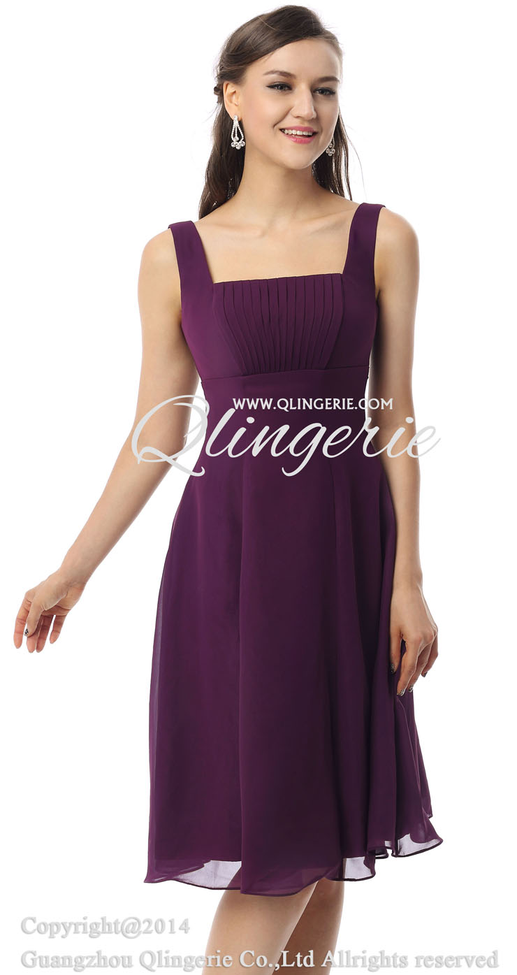 2018 Vintage Purple A-line Straps Square Neckline Empire Knee-Length ...