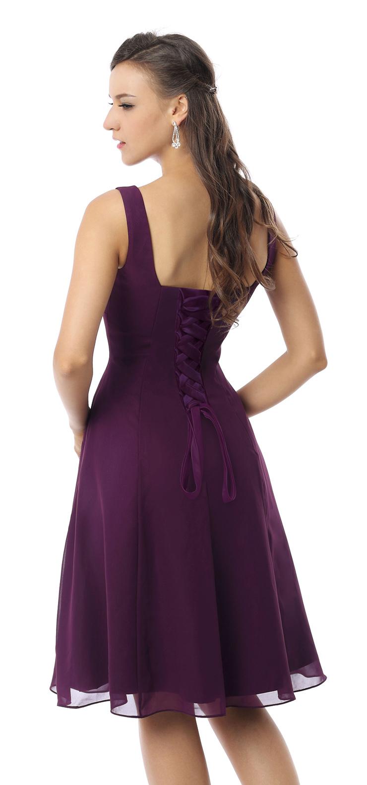 2017 Vintage Purple A-line Straps Square Neckline Empire Knee-Length Prom/Homecoming Dresses F30049