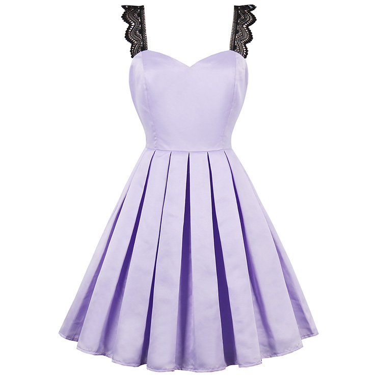 Sexy Women's Purple Sweetheart Neckline Lace Strap Swing Mini Dress N14390