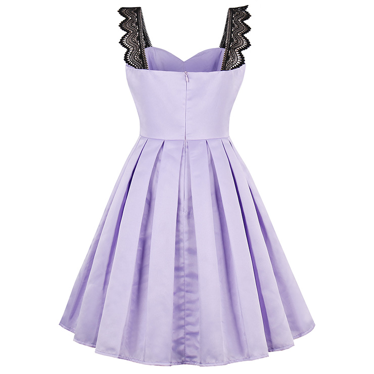 Vintage Dresses for Women, Sexy Dresses for Women Cocktail Party, Casual Mini dress, Purple Swing Daily Dress, Women