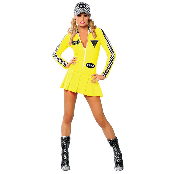 Referee Costume, Racer Girl Costume, yellow Racer Girl Costume, #N1371